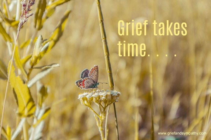 Grief takes time - meme with background of butterfly in a wheat field. Photo Alexey Sukhariev