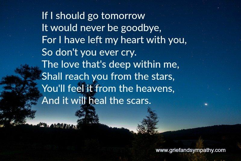 Poem for a memorial service - If I should go tomorrow
