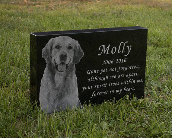 Personalised Memorial Stone for Dog with Photo and Text