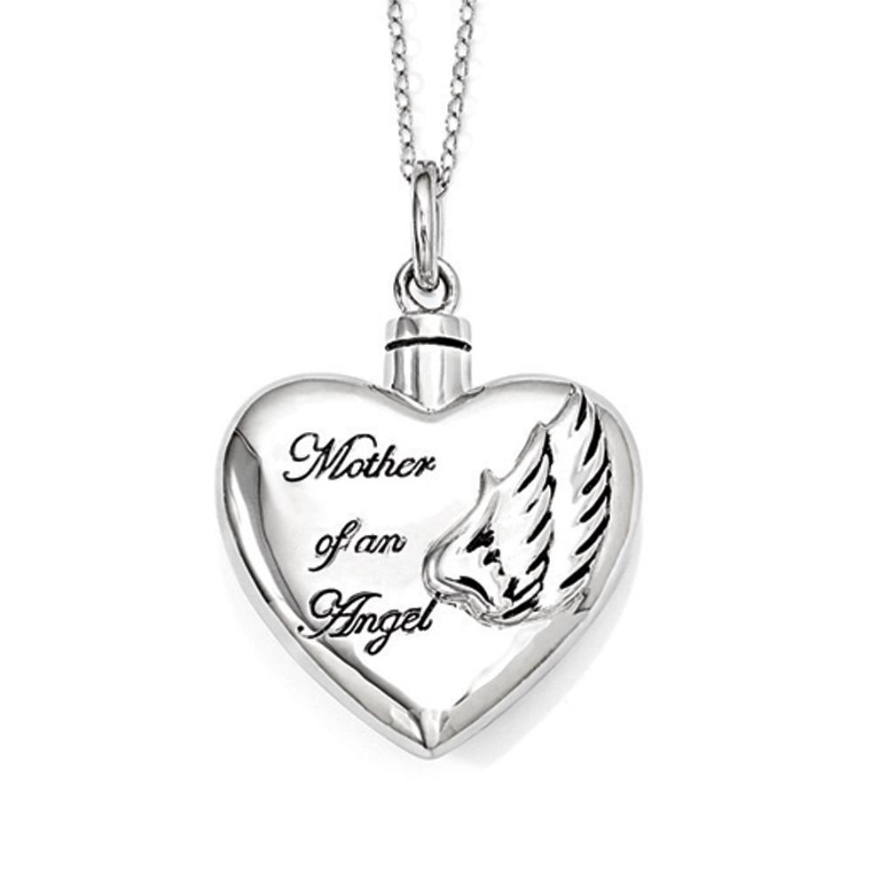 Sterling Silver Heart Shaped Mother of an Angel Ash Holder Necklace