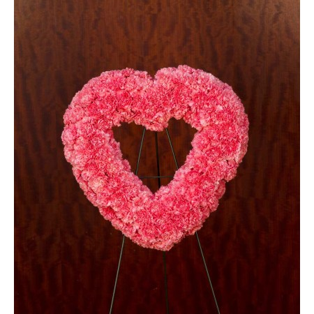 Pink Carnation Heart Wreath