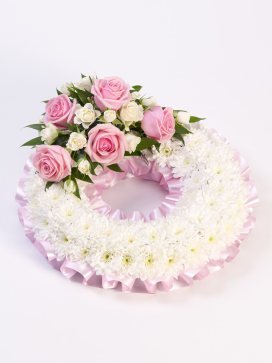 Pink and White Wreath of Flowers for a Baby Funeral