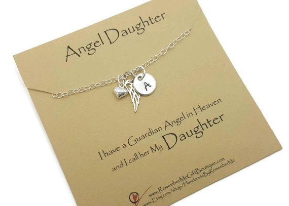 Memorial pendant for a daughter in sterling silver