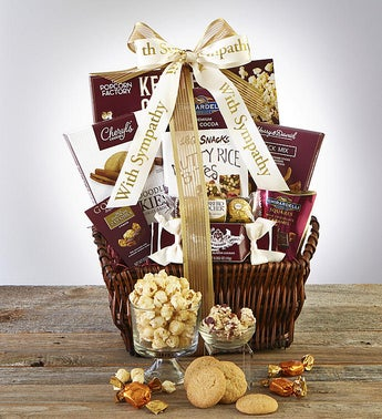 Chocolate and snacks sympathy basket with white ribbon