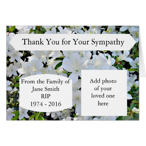 Sympathy thank you card personalised with photo and text