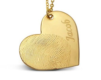 Thumbprint memorial pendant, gold heart with engraved name
