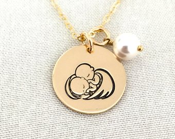 Gold twins remembrance necklace charm
