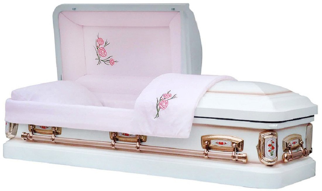 Pretty white casket for funeral with roses